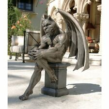 Large Gothic Gargoyle The Thinker Statue on Pedestal Resin Medieval Sculpture
