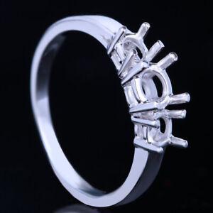 Women Round Cut Three Stone 14K Gold Wedding Semi Mount Engagement Wedding Ring