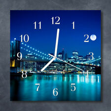 Glass Wall Clock Kitchen Clocks 30x30 cm silent Skyline Night Blue