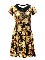 Women's Hot Fire Flames All Over Print Collar Swing Dress Alternative Halloween