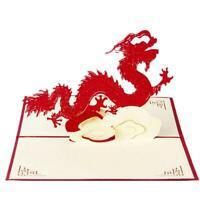 3D Handmade dragon Pop Up cartes de vœux Joyeux Noël cadeau d'anniversaire