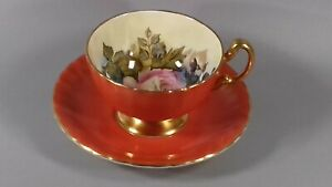 VINTAGE AYNSLEY CABBAGE ROSE CHINA CUP ORANGE SAUCER SIGNED J A BAILEY