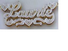 PERSONALIZED  3D DOUBLE NAME PLATE NECKLACE W/ CHAIN LR