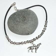 Silver Leather Necklace Howling Wolf Tibetan