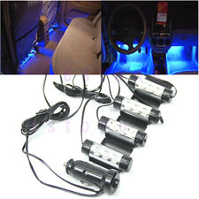 4x 3LED Car Charge 4 in1 Atmosphere Light Lamp Blue Glow Car Interior Decor 12V