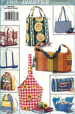 Butterick 4365 Tote Bags Gardening Grocery Beach Bookbag Pattern UNCUT FF Craft