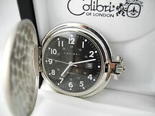 COLIBRI BLACK FACE SILVERTONE POCKETWATCH  W/DATE  New  as-is  REDUCED