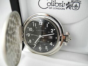 COLIBRI BLACK FACE SILVERTONE POCKETWATCH  W/DATE  New  as-is  REDUCED CLEARANCE