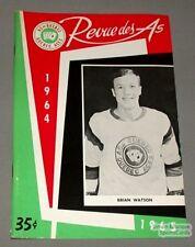 1964-65 AHL Quebec Aces Program Brian Watson Cover
