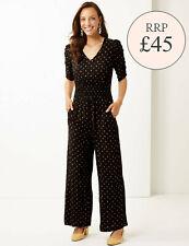 Ex M&S Pattern Print V-Neck Elasticated Waist Maxi Jumpsuit Size 8-24 RRP £45