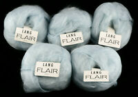 New LANG YARNS Luxury Mohair LOT of 5 Skeins 50gX5 ICE blue Switzerland