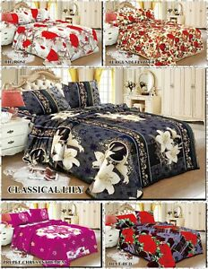 Blanket Set King Bed Throw Set 3 PCs Soft Warm Sherpa Fleece With 2 Pillow Cases