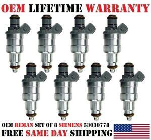 OEM Siemens Set of 8 Fuel Injectors for Dodge Jeep 2.5L 5.2L 5.9L 4.0L 1997-2003
