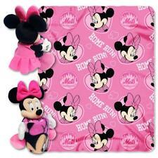Disney Minnie Mouse MLB NY METS Cheerleader Fleece Throw Blanket & Hugger - Pers