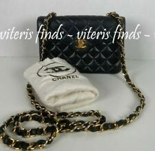 Auth Chanel Mini CC Single Flap Black Lambskin Leather GH Crossbody Shoulder Bag