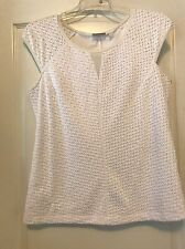 NWT New York & Co. White Textured Round Neck Capped Sleeve Sz XL Knit Blouse!!