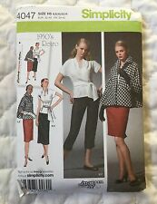 Simplicity 4047 Retro 1950s Pattern 6 8 10 12 14 Cropped Pants Skirt Top Jacket