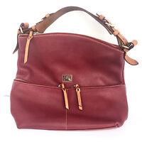 Dooney & Bourke Red Burgundy Leather Shoulder Hobo Satchel Bag Purse