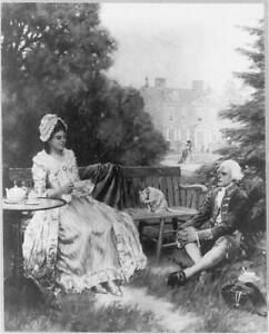 Tea on the Lawn,Man and woman in colonial dress,c1917,Clyde O. Deland,Cat 4882