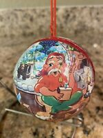 Vintage Christmas Paper Mache Santa's Workshop Ornament/ Candy Container Vintage