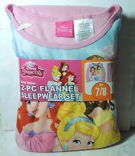 Newest Brand New Girls Disney Princess 2 pc Flannel Pajamas Sleepwear Set 7/8