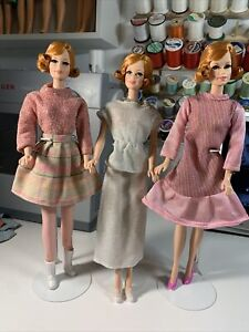 Vintage Barbie Doll Clone, Hand Made Clothes Lot Shoes Accessories Pink Sparkly