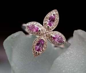 2Ct Round & Marquise Cut Pink Sapphire Diamond Wedding Ring 14K Rose Gold Fn