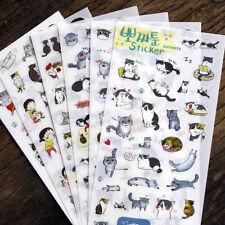 6 Sheets Cute Cat Album Diary Card Calendar Sticker Label Scrapbooking Stickers