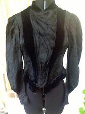 Antique Victorian/Edwardian top French black boned corset long sleeved velvet