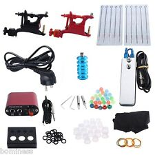 Pro Tattoo Kit 2 Rotary Motor Machine Guns Foot Pedal Electric Power Supply