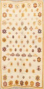 Vegetable Dye Semi Antique Moroccan Oriental Area Rug Handmade Ivory Wool 5x8 ft