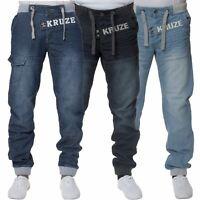 KRUZE Mens Fashion Casual Stonewash Branded Denim Cuffed Jeans Pants Waist 28-48