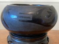 Pueblo San Ildefonso Black on Black Pottery Bowl Signed Rosalie and Joe Aguilar