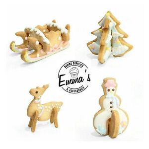 3D Xmas Cookie Cutter Set Stainless Snowman Sleigh Tree Reindeer 8Pcs