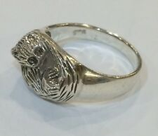 Sterling Silver Sleeping Cat Ring Size O