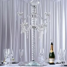 "35"" tall Clear Glass Crystal Candelabra Votive Candle Holder Wedding Supplies"