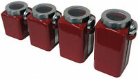 4 Piece Stoneware Canister Set Jars Cereal Sugar Spices Candy Cookie Kitchen Red