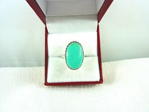 Oval Shape Created Turquoise Sterling Silver Ring US (6 1/2) AU (N)
