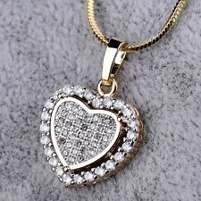 18K White Gold Filled Women Love Heart CZ Crystal Pendant Chain Necklace Jewelry