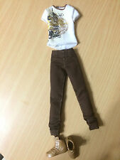 Barbie Fashionistas Ryan Ken Doll Outfit Cloth Gold Print Top Brown Pants Shoes