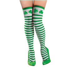 St Patricks Day Party Tights Thigh High Green White Stripes & Shamrock Pantyhose