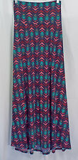 Women's LuLaRoe Navy Teal Pink Red Arrow Maxi Skirt XL NWT