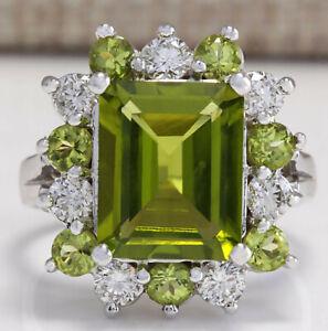 4.97 Carat Natural Peridot 14K White Gold Diamond Ring