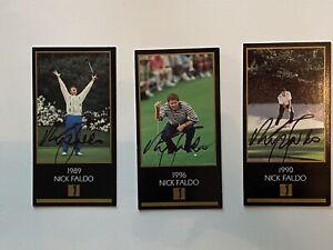 Nick Faldo Grand Slam BLACK CARDS 1996, 1989, 1990 JSA COA RARE!!! Set of 3!!