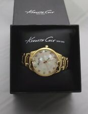 KENNETH COLE NEW YORK GOLD-TONE WATER RESISTANT BRACELET WATCH/MOSAIC MOP FACE