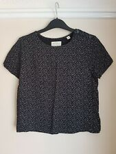 Jack Wills Cropped Top Short Sleeve Blouse Top Black & White Print Size 6 NEW