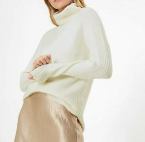 Ladies Ex M&S Textured Roll Neck Relaxed Jumper Cream ALL SIZES NEW BXA40
