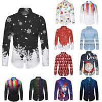 Christmas Men's Ethnic Style Slim Long Sleeve Xmas Party Dress Shirt Blouse Tops