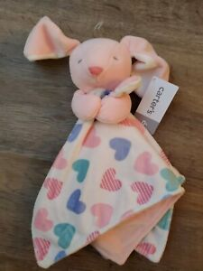 Nwt Carter's Plush Bunny Hearts Baby Security Blanket Lovey Pink Purple soft toy