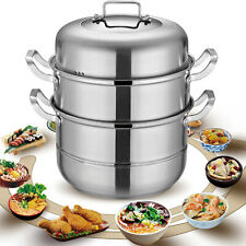 Stainless Steel 28cm Steamer Cooker Steam Pot Food Cooking w/glass lid 3 Tier